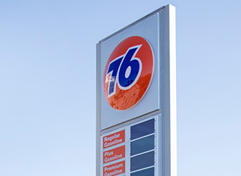 76 fuel brand Crest image gas station price sign