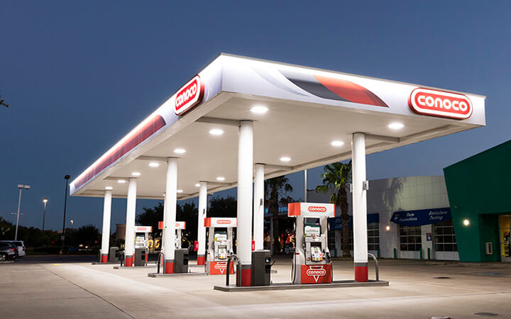 Fusion gas station image by Conoco fuel brand