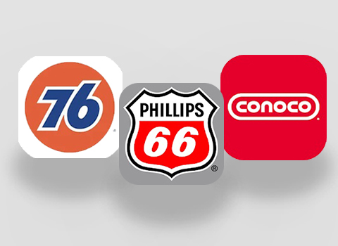 Phillips 66, 76 and Conoco fuel brands mobile app icons