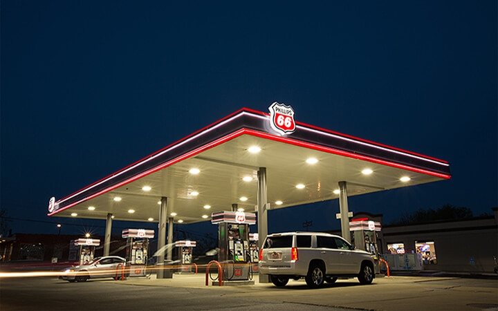 Phillips 66 Fuel brand premier Shield image at night